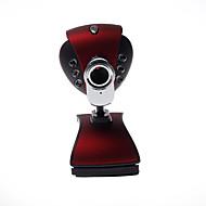 computador câmera com lâmpada + microfone + tirar fotos, clip-on base vermelha
