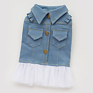 犬用品 ドレス / デニムジャケット ブルー 犬用ウェア 夏 / 春/秋 ジーンズ ファッション