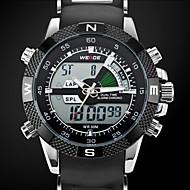 reloj de cuarzo de los hombres, correa de reloj de silicona negro, regalo novio para los hombres llevó el reloj resistente al agua
