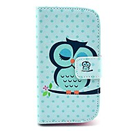 For Samsung Galaxy etui Pung / Kortholder / Med stativ / Flip / Mønster Etui Heldækkende Etui Ugle Kunstlæder Samsung Style Duos