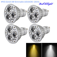 YouOKLight® 4PCS Dimmable LED 3W GU10 280LM White/ Warm White 3-High Power LED Spot Light Bulb-(AC110-120V / 220V-240V)