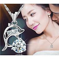 Damskie Naszyjniki z wisiorkami Animal Shape Delfin Srebro standardowe Kryształ Modny Silver Biżuteria Na Impreza Codzienny Casual 1szt