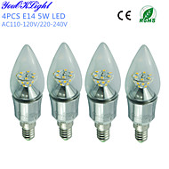 5W E14 Luces LED en Vela C35 25 SMD 2835 450 lm Blanco Cálido Decorativa AC 100-240 / AC 110-130 V 4 piezas
