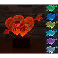 visuelle modèle 3d atmosphère en forme de coeur humeur conduit décoration usb lampe de table cadeau coloré lumière de nuit