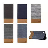 luxe flip canvas lederen tas met portemonnee kaartslot houder voor de Sony Xperia m2 / m4 / e4 / c4 / Z3 / Z4 / Z3 mini / T3