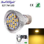 7W E26/E27 LED-spotlampen A50 15 SMD 5630 600 lm Warm wit Decoratief AC 220-240 / AC 110-130 V 1 stuks