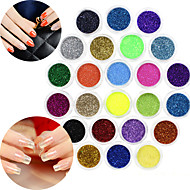 24 Color glitter Nail Art Decorations