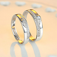 Κρίκοι Γάμου / Πάρτι / Καθημερινά Κοσμήματα Ασήμι Στερλίνας Γυναικεία / Άντρες / Ζεύγος Δαχτυλίδια Ζευγαριού 2pcs,Ρυθμιζόμενο Ασημί
