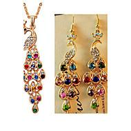ジュエリーセット ファッション 高級ジュエリー 模造ダイヤモンド 孔雀 虹色 のために パーティー 誕生日 ウェディングギフト