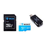 mgn original de la clase 10 de 64GB microSDHC tarjeta de memoria flash tf con el adaptador SDHC SD y USB&OTG dos en un lector de