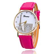 Xu™ 아가씨들 패션 시계 캐쥬얼 시계 석영 PU 밴드 캔디 에펠탑 브라운 그린 핑크 퍼플