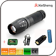 Lights LED Flashlights/Torch LED 1000 lumens Lumens 5 Mode Cree XM-L T6 18650Adjustable Focus / Waterproof / Rechargeable / Impact