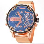 JUBAOLI 男性 軍用腕時計 リストウォッチ 2タイムゾーン クォーツ ステンレス ローズゴールドめっき バンド ゴールド