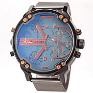 JUBAOLI 男性 軍用腕時計 リストウォッチ 2タイムゾーン カジュアルウォッチ クォーツ ステンレス バンド ブラック