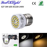 YouOKLight® 1PCS E27 3W 24-SMD 2835 LED Spotlight 3000K Warm White Light / 6000K White Light  220lm (AC 220~240V)
