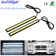 YouOKLight® 2-Piece Waterproof  High Power 6W 6000K COB LED DRL  Daytime Running Light for All Vehicles with 12V