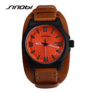 SINOBI Masculino Relógio Esportivo Relógio de Pulso Quartzo Calendário Impermeável Relógio Esportivo Couro Banda Marrom Marron