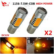 2X yellow High Power BAU15S 1156PY 7.5W Tail Brake Signal LED Light bulbs 7507