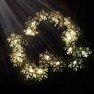 konge ro 40led solcellevent snøfnugg dekorative streng lys (kl0032-rgb, hvit, varm hvit)