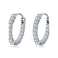 フープピアス 純銀製 ジルコン 円形 幾何学形 ジュエリー のために 結婚式 パーティー 日常 カジュアル 1セット