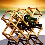 10 flaske fold køkkenbordet vinreol fremstillet af 100% massivt træ, moderne design for nem fritstående bordplade opbevaring
