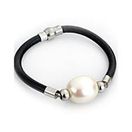 Dames Armbanden met ketting en sluiting Wikkelarmbanden Lederen armbanden Survival Armband Oorbellenset Eenvoudige StijlParel Leder