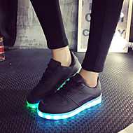 Women's Spring / Summer / Fall Round Toe Leatherette Outdoor / Casual / Athletic Flat Heel Lace-up Black