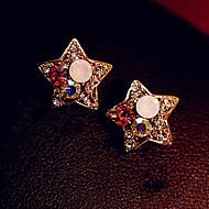 ドロップイヤリング 高級ジュエリー ラインストーン 模造ダイヤモンド 合金 スター ゴールデン ジュエリー のために 日常 1ペア
