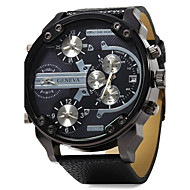 Men's Military Fashion 4 Time Display Leather Band Quartz Watch Wrist Watch Cool Watch Unique Watch
