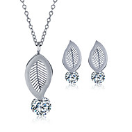 Jewelry Set Stainless Steel Zircon Titanium Steel Fashion Leaf Silver Necklace/Earrings Wedding Party Daily Casual 1set Necklaces Earrings
