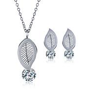Sieraden set Roestvast staal Zirkonia Titanium Staal Modieus Bladvorm Zilver Ketting / Oorbellen Bruiloft Feest Dagelijks Causaal 1 Set