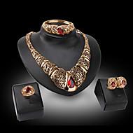 Vintage / Party-Damen-Halskette / Ohrring / Armband / Ring(Vergoldet / Legierung / Strass / Edelstein & Kristall)