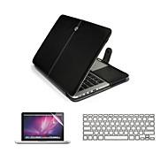 3 en 1 bolso de la caja del ordenador portátil de cuero de la PU con el protector de pantalla y la cubierta del teclado para el macbook