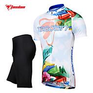 TASDAN Moto/Ciclismo Shorts / Camisa / Camisa + Calças Homens Manga CurtaRespirável / Secagem Rápida / Tapete 3D / Tiras Refletoras /