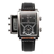 Herr Armbandsur Quartz LCD Kalender Tre tidszoner Läder Band Svart Svart Orange Blå