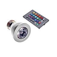 E27 3W 1-LED 16 צבעים דקורטיביים מנורת w / שלט רחוק - כסף + לבן