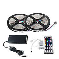 2×5M 150X5050 SMD RGB LED Strip Light and 44Key Remote Controller and 6A EU Power Supply (AC110-240V)