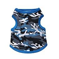 고양이 / 개 티셔츠 블루 / 블랙 강아지 의류 여름 위장 패션