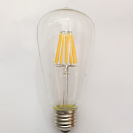 1 pcs kwb E26/E27 12W 12 COB 1100 lm Warm White ST64 edison Vintage LED Filament Bulbs AC 220-240 V
