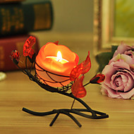 Candlelight Dinner European-Style Candle Crafts Creative Romantic Rose, Wrought Iron Candlestick Furnishing Articles