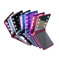 LED Mirrors Mini Portable Folding Compact Hand Cosmetic Make Up Pocket Mirror with 8 LED Light for Women Girls Lady