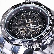 WINNER Męskie Zegarek na nadgarstek zegarek mechaniczny Nakręcanie automatyczne Grawerowane Stal nierdzewna Pasmo Ekskluzywne SrebroWhite