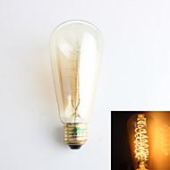 1 st Zweihnder E26/E27 40W 1 COB 500 lm Varmvit ST64 edison Vintage LED-glödlampor AC 220-240 V