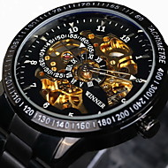 WINNER Męskie Szkieletowy Zegarek na nadgarstek zegarek mechaniczny Nakręcanie automatyczne Wodoszczelny Grawerowane tachymeter Świecący