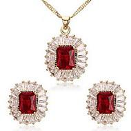Mücevher Kolyeler / Kolczyki Takı Seti Kübik Zirconia Eski Tip Parti / Günlük 1set Kadın Düğün Hediyeleri