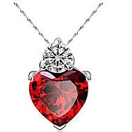 Naisten Riipus-kaulakorut Heart Shape Zirkoni Cubic Zirkonia Love Heart Muoti Purppura Fuksia Korut Varten Päivittäin Kausaliteetti 1set