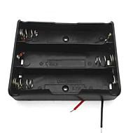 3-gniazdo przypadek pudełko uchwyt baterii 3.7v 18650 w / prowadzi - czarny