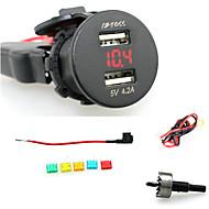 iztoss 2.1A; 電圧計の赤い光で2.1A防水デュアルUSB充電器携帯電話の充電器の電源ソケット