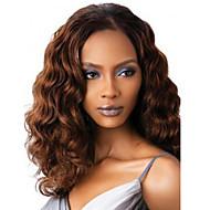 Naisten pitkä syvä aalto synteettinen hiukset peruukki tummanruskea kuumuutta kestävä kuitu halpa cosplay osapuoli peruukki hiukset