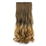 sötétbarna és barna litht hossza 60cm szintetikus gradiens öt kártya haj, hosszú egyenes haj paróka (színes 8t27)